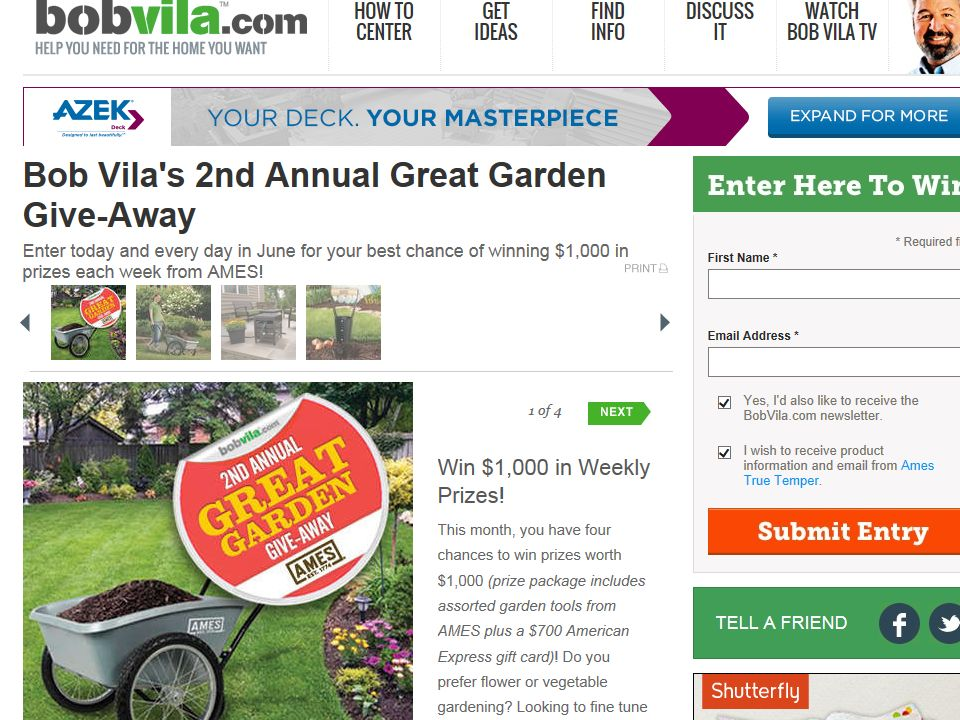 Bob Vila's 2nd Annual Great Garden Give-Away Sweepstakes