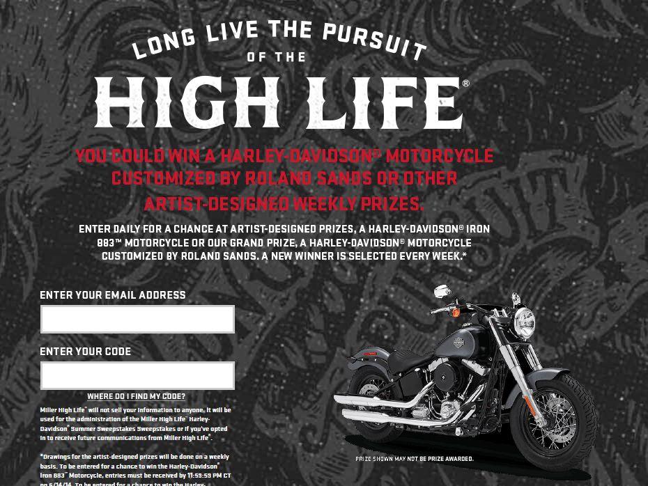 Miller High Life Harley-Davidson Summer Sweepstakes