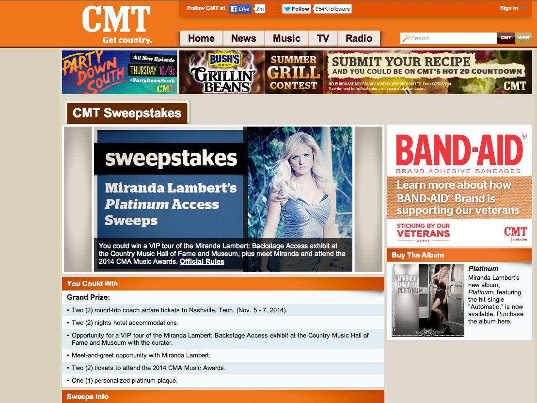 Miranda Lambert's Platinum Access Sweepstakes