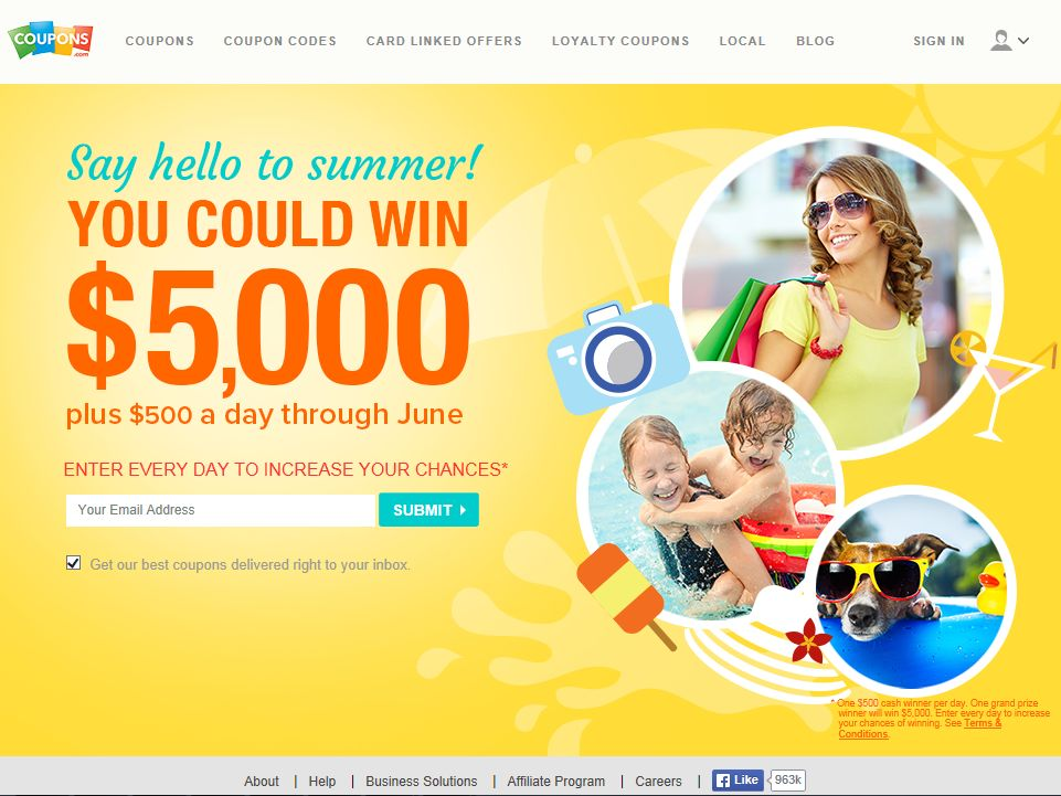 Coupons.com's June Cash Sweepstakes