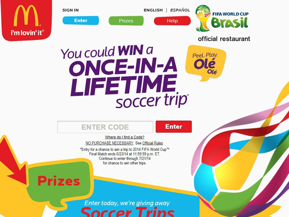 McDonald's 2014 Peel. Play. Olé, Olé Game and Online Sweepstakes