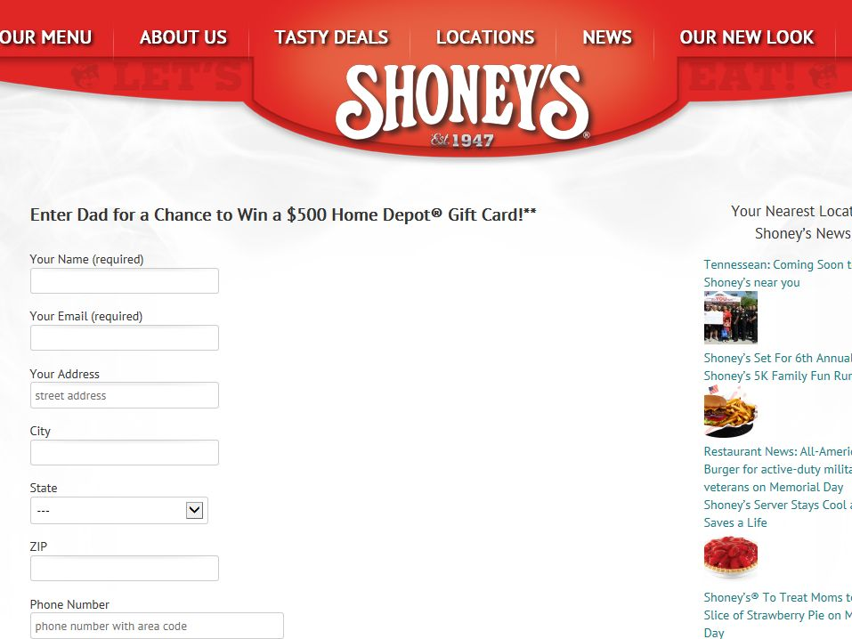 Shoney's Father's Day Giveaway Sweepstakes
