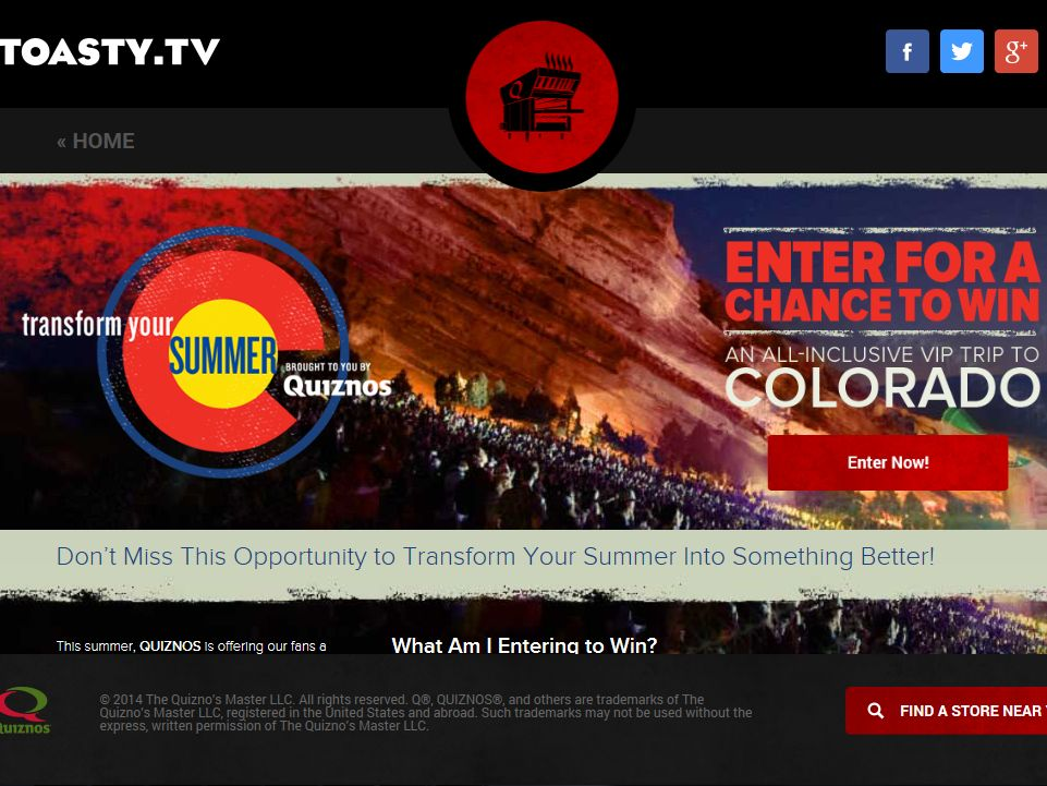 Quiznos Transform Your Summer Sweepstakes