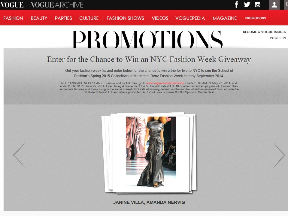 Vogue Runway Realities Sweepstakes