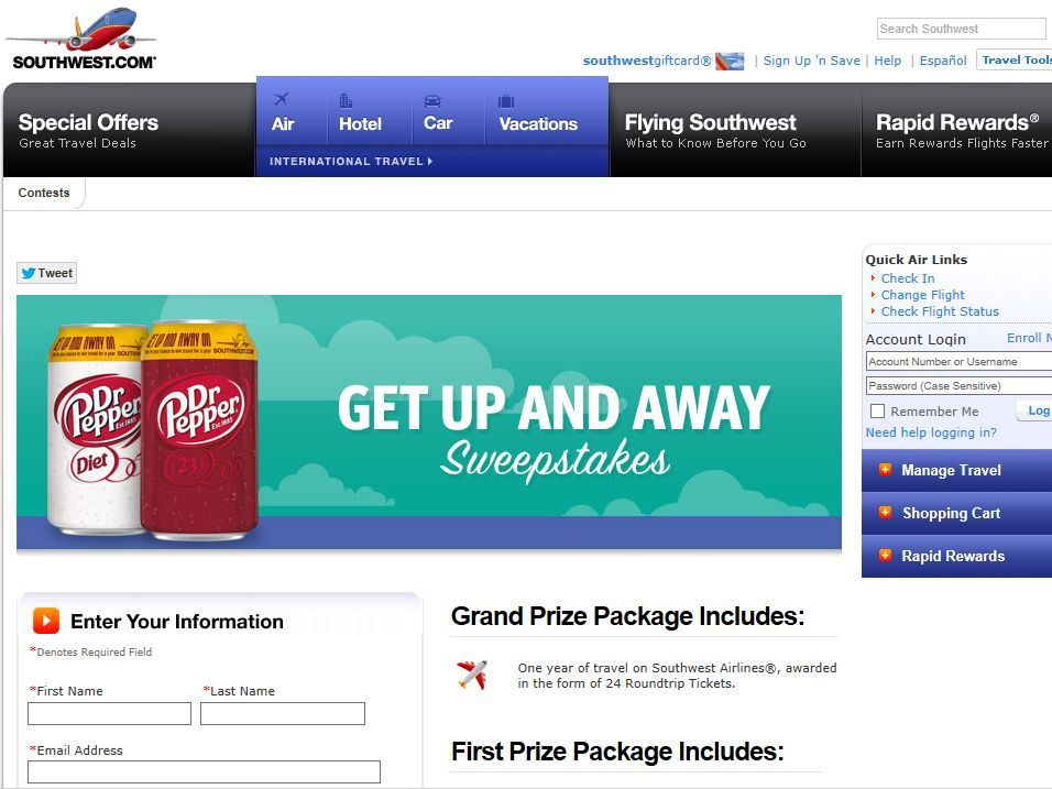 """2014 Dr Pepper and Southwest Airlines """"Get Up and Fly Away""""  Sweepstakes"""