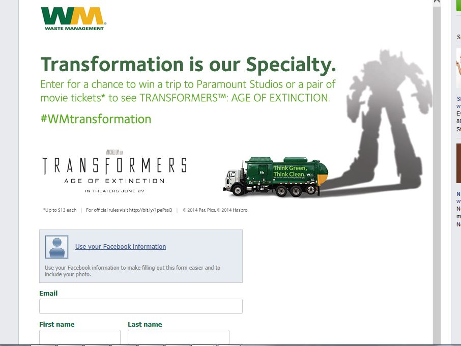 Waste Management Transformers Facebook Sweepstakes
