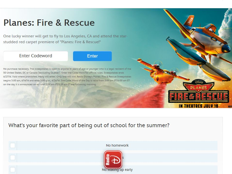 Radio Disney Planes: Fire & Rescue Sweepstakes – Code Required