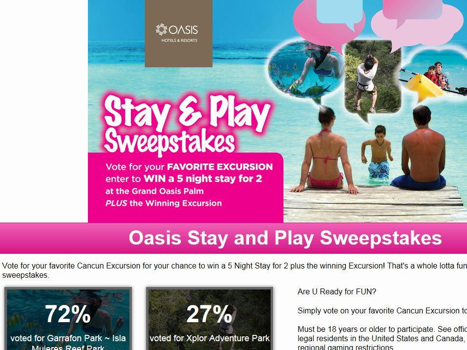 Oasis Stay and Play Sweepstakes