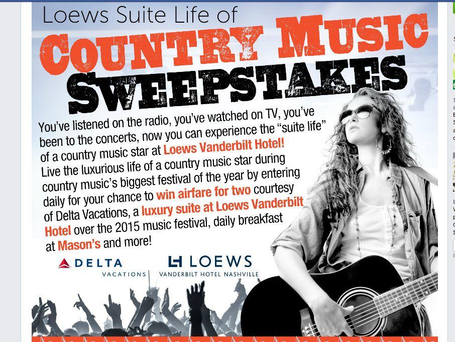 Loews Vanderbilt Hotel 'Loews Suite Life of Country Music' Sweepstakes