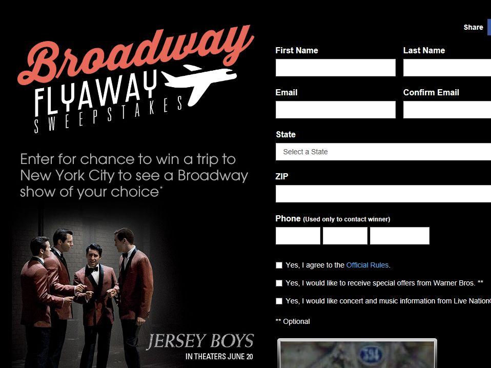 Broadway Flyaway Sweepstakes