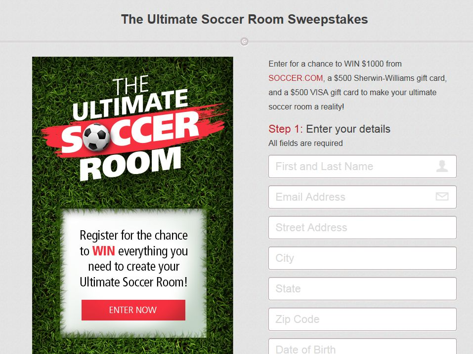 """Sherwin-Williams """"The Ultimate Soccer Room"""" Sweepstakes"""
