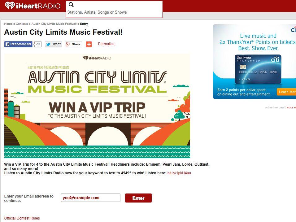 iHeartRadio Austin City Limits Flyaway Adventure Sweepstakes
