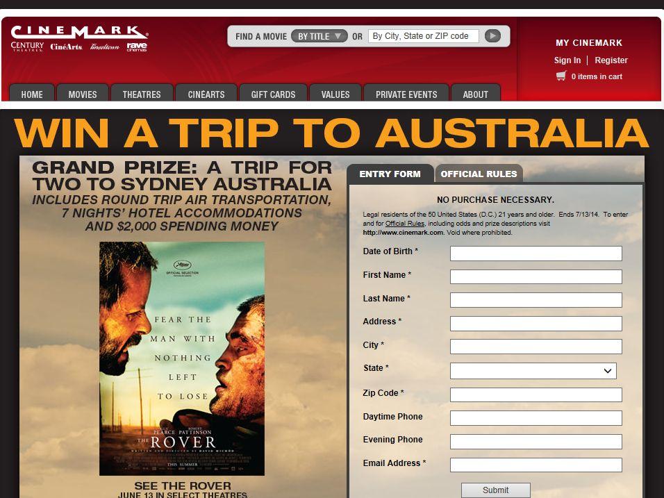 Cinemark/Rover Trip to Australia Sweepstakes