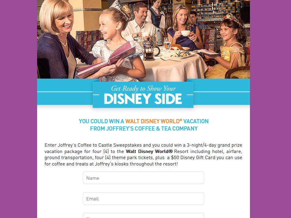 Joffrey's Coffee to Castle Sweepstakes