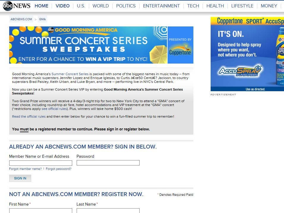 Good Morning America Summer Concert Series Sweepstakes