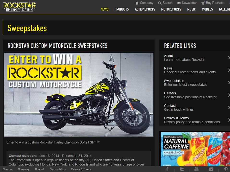 Rockstar Custom Motorcycle Sweepstakes