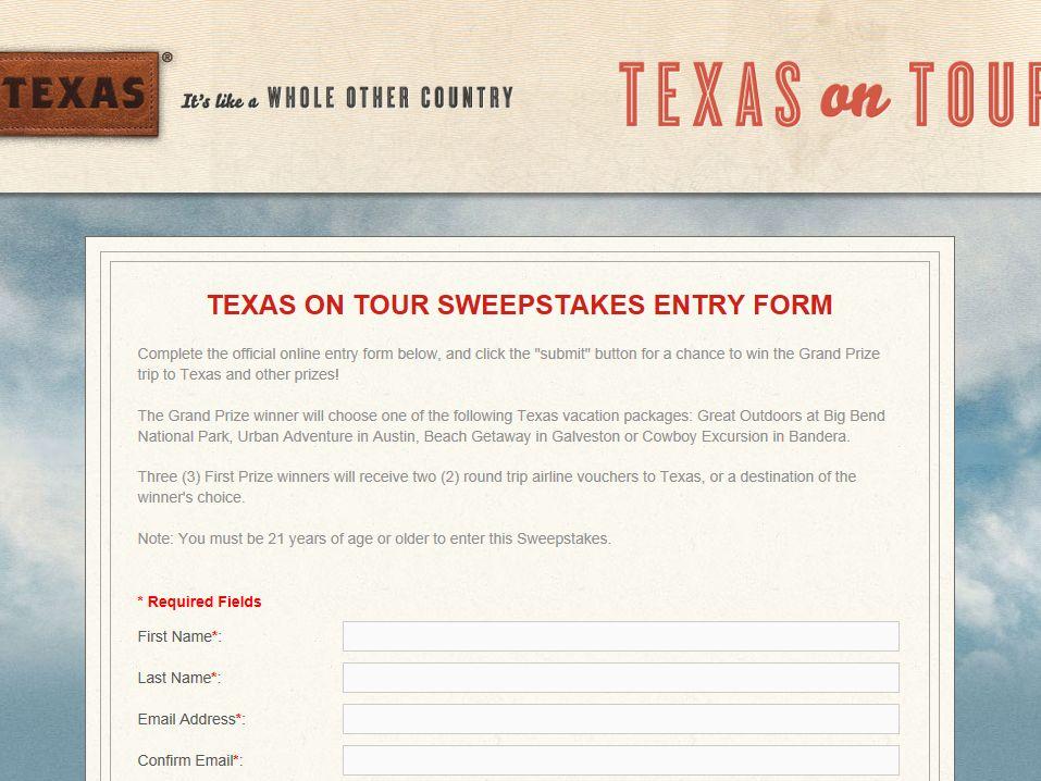 Texas on Tour Sweepstakes