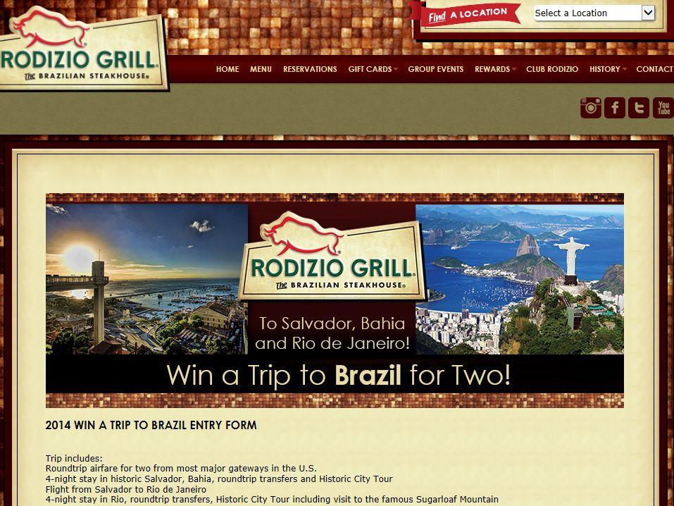 Rodizio Grill Trip to Brazil Sweepstakes