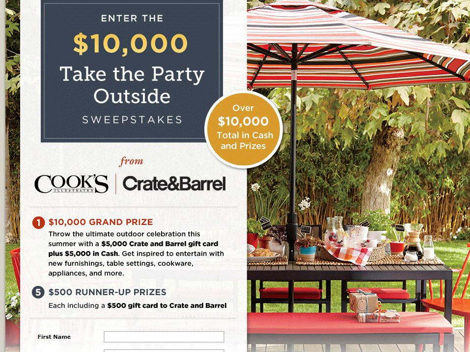 Crate & Barrel $10,000 Take the Party Outside Sweepstakes