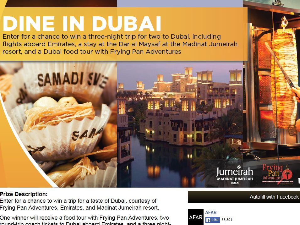 Dine in Dubai Sweepstakes