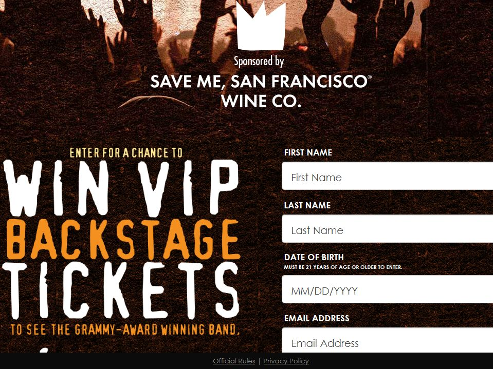 Save Me, San Francisco Wine Co. 2014 VIP Experience Sweepstakes