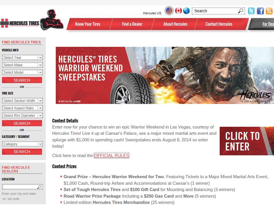Hercules Tires Warrior Weekend Sweepstakes