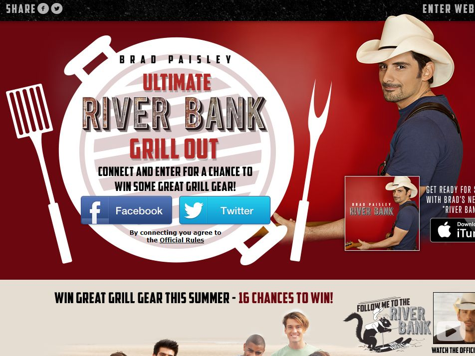 Brad Paisley Ultimate River Bank Grill Out Sweepstakes