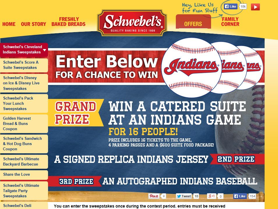 Schwebel Baking Company and Cleveland Indians Sweepstakes