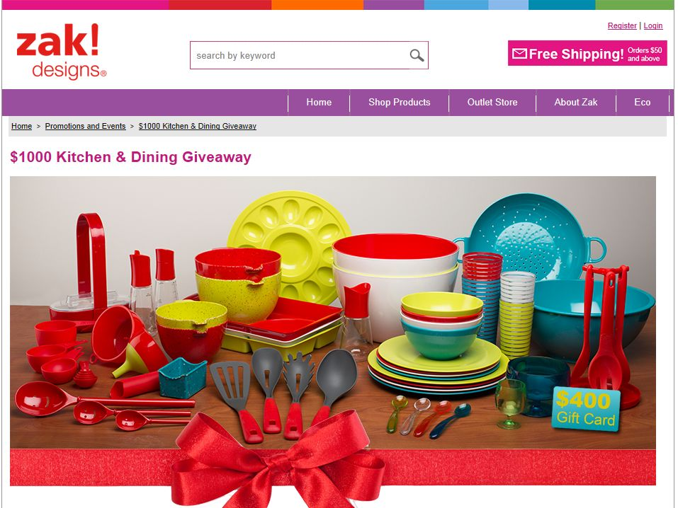 Zak Designs $1000 Kitchen & Dining Giveaway Sweepstakes