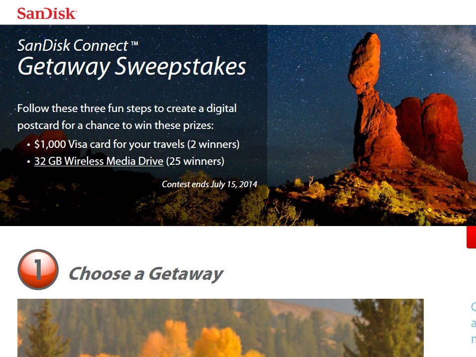 SanDisk Connect Getaway Sweepstakes