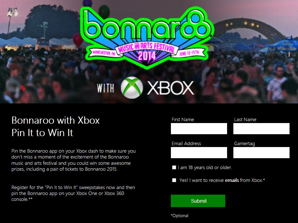 Bonnaroo with Xbox Pin It to Win It Sweepstakes