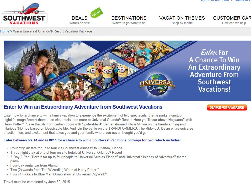 Win an Extraordinary Adventure from Southwest Vacations Sweepstakes