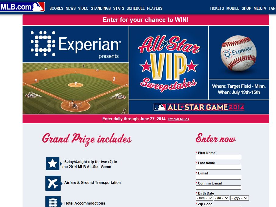 All-Star VIP Experience Presented by Experian Sweepstakes