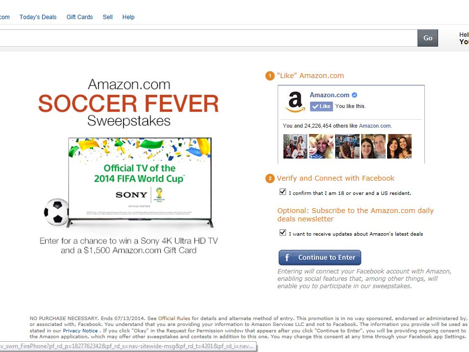 Amazon.com Soccer Fever Sweepstakes