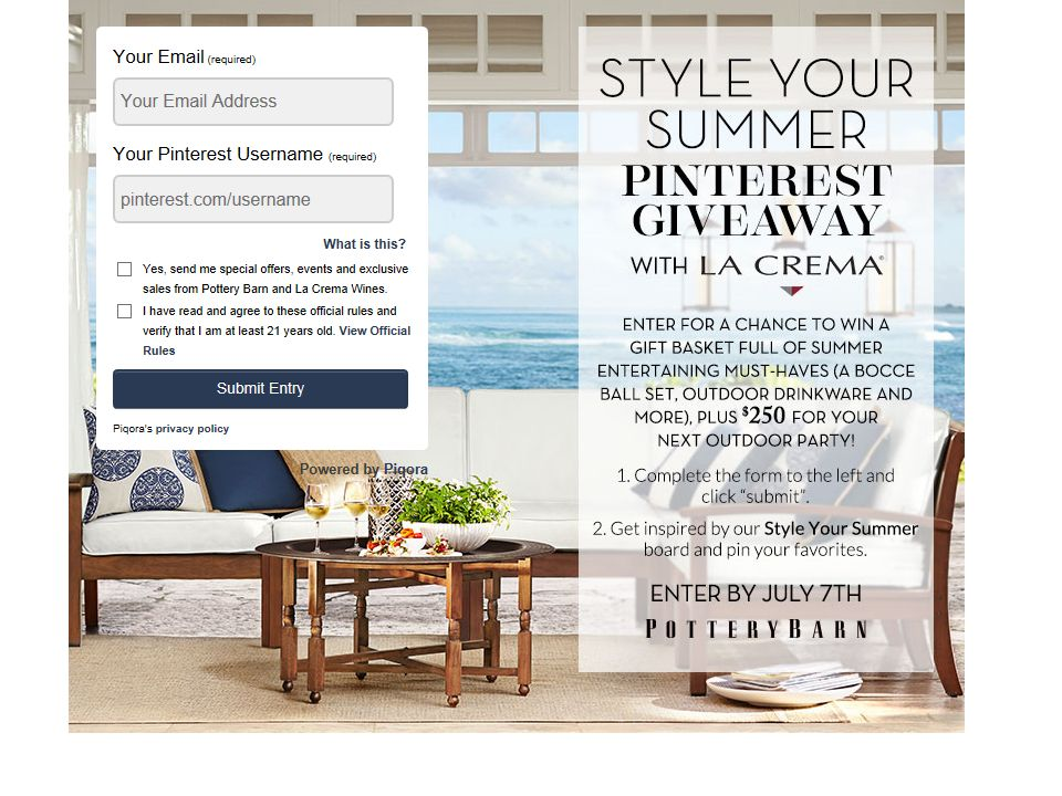Pottery Barn Style Your Summer Sweepstakes