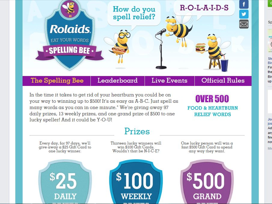 Rolaids Eat Your Words Spelling Bee Sweepstakes