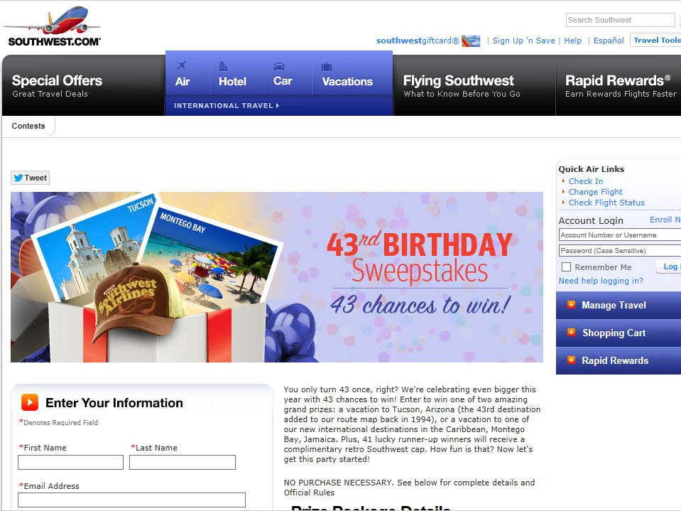Southwest Airlines 43rd Birthday Sweepstakes