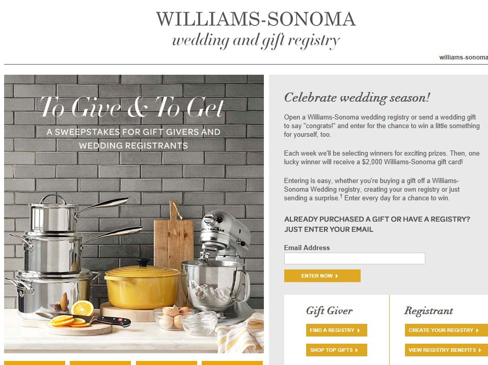 Williams-Sonoma To Give and To Get Sweepstakes