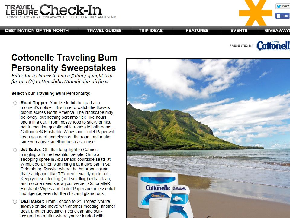 Cottonelle Traveling Bum Personality Sweepstakes