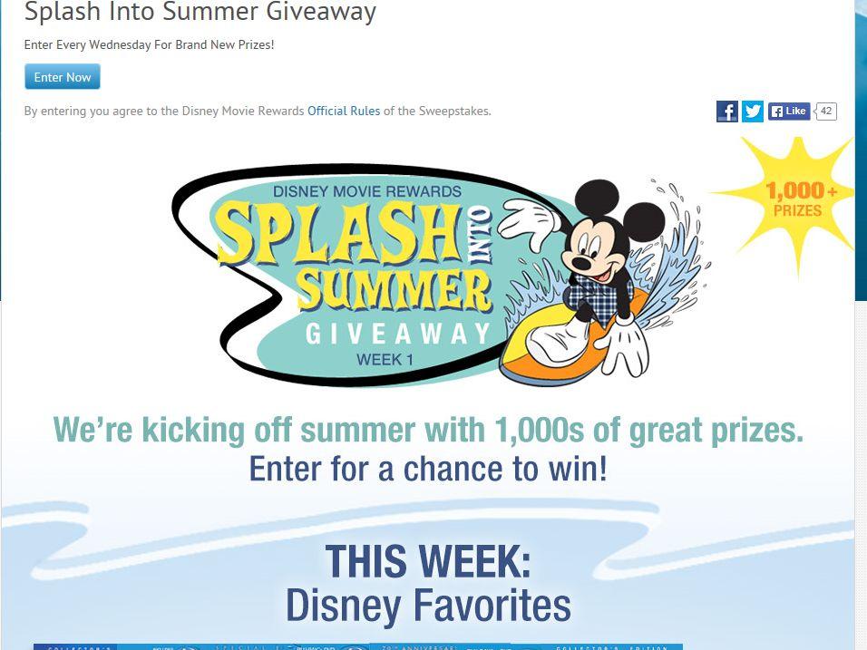 Disney Movie Rewards Summer Weekly Sweepstakes