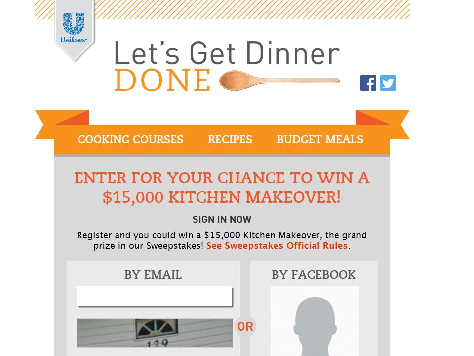Unilever Let's Get Dinner Done Sweepstakes