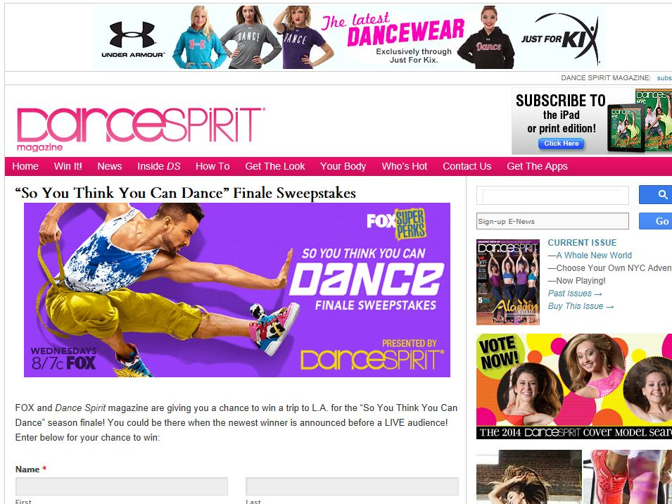 So You Think You Can Dance Sweepstakes