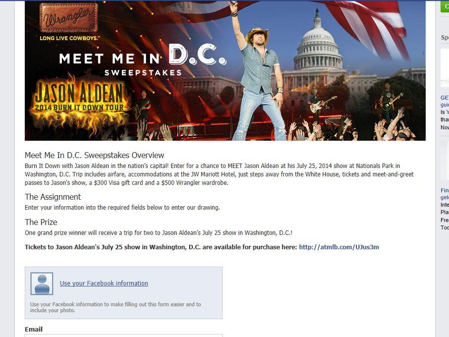 """Wrangler """"Meet Me In D.C."""" Sweepstakes"""