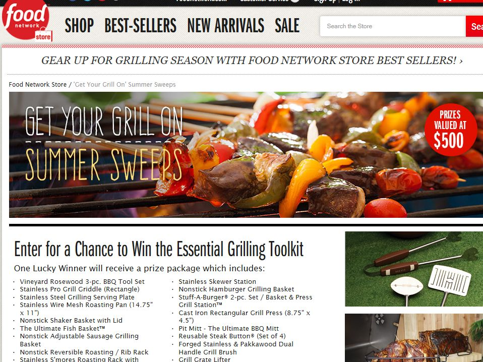 """Food Network Store """"Get Your Grill On"""" Sweepstakes"""