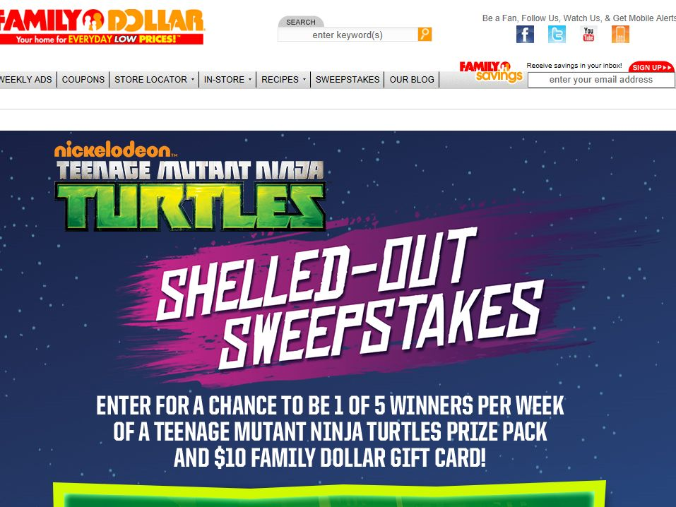 Teenage Mutant Ninja Turtles Shelled-Out Sweepstakes