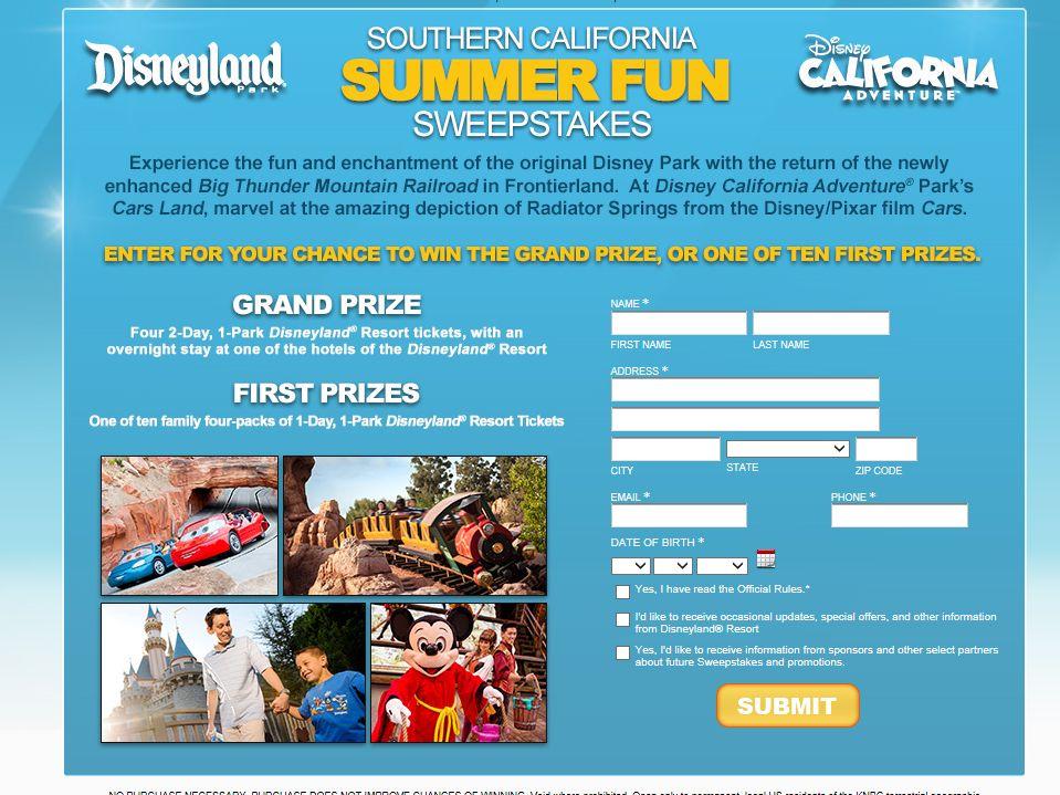 NBC4 /Southern California Summer Fun Sweepstakes