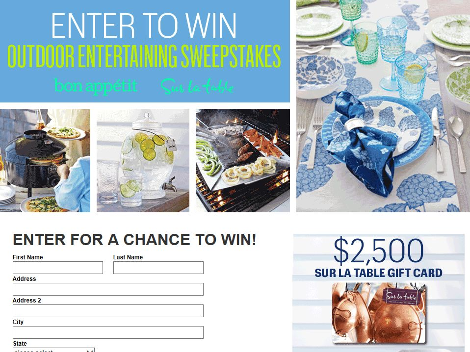 Sur La Table and Bon Appetit Summer Entertaining Sweepstakes