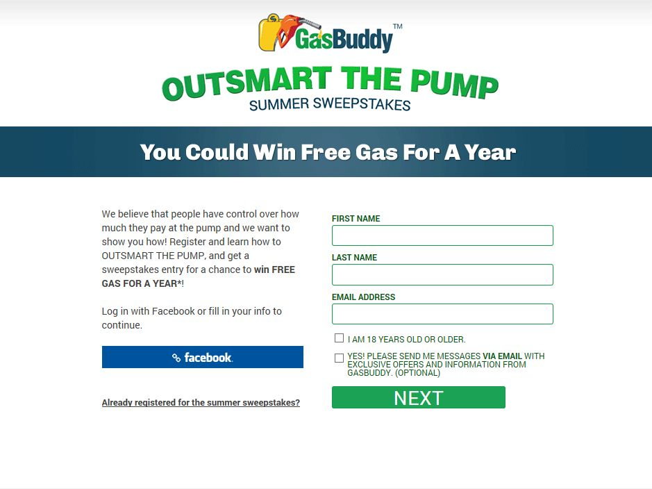 GasBuddy Outsmart The Pump Sweepstakes