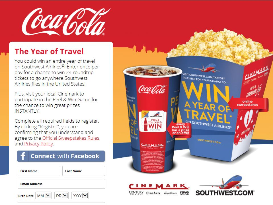 Coca-Cola, Cinemark & Southwest Airlines Sweepstakes