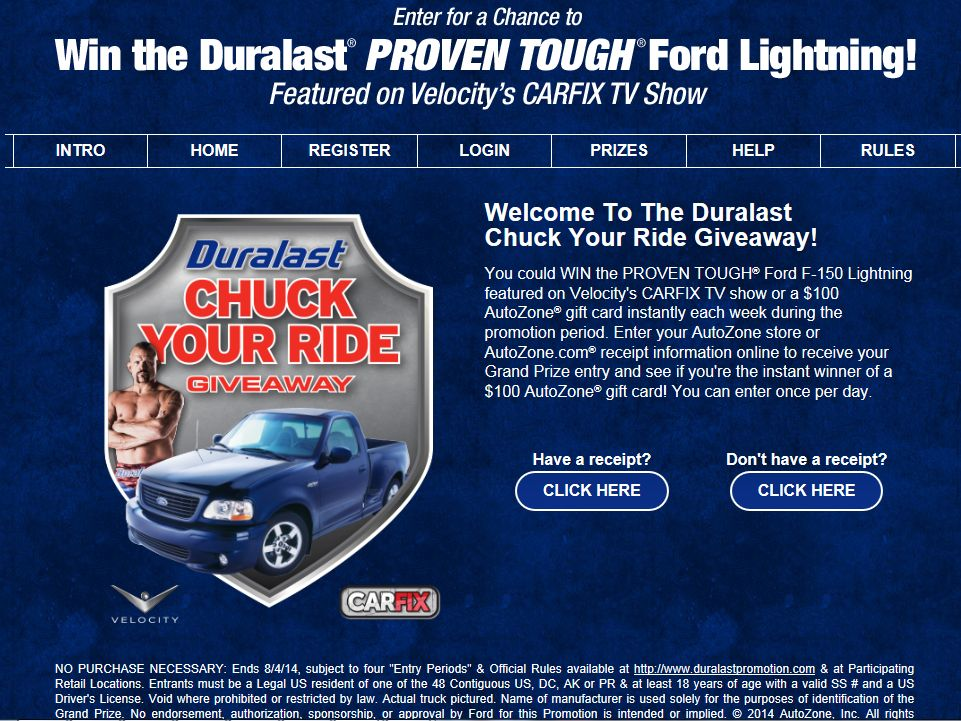 Duralast Chuck Your Ride Giveaway